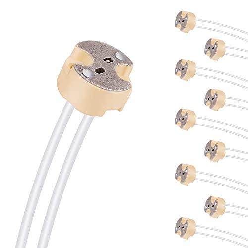 Aiwode Casquillos MR16 GU5.3,Portalámparas MR16 Cerámica con Silicona Cable 0,75mm²,Conector para Bombillas...