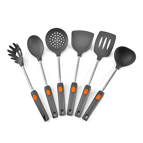 FGH QPLKKMOI Kitchen Utensils Set Silicone Cooking Utensils, 6-Piece Nylon Kitchen Utensil, Heat Insulation and Anti-Scaling Handle, Silent Cooking