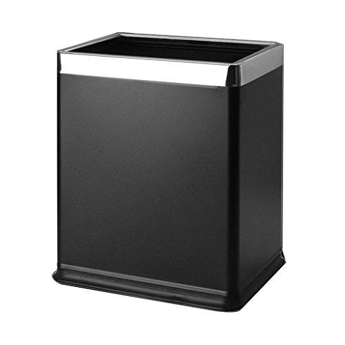 LJ Poubelle Poubelle carrée Poubelle double couche Tube de rangement en acier inoxydable Ménage sans couverture ( Couleur : Noir )