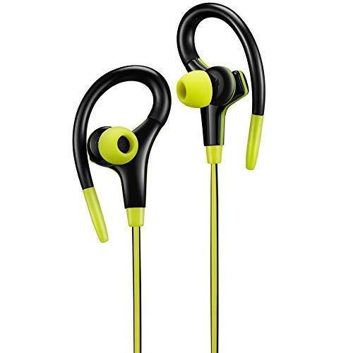 Canyon Auriculares Deportivos para Correr Gym Jogging Auriculares estéreo con Cable con Control Remoto y micrófono Aislamiento de Ruido en la Oreja En la Oreja Auriculares Deportivos(Yellow)