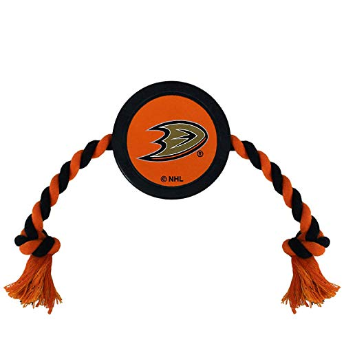 Pets First Dog Rubber Toy Tough Rubber with Heavy-Duty Dog Rope Tug Toy. NHL Anaheim Ducks Puck Toy for Dogs & Cats. Play Hockey with Your Pet with This Licensed Dog Puck Rubber Cool Toy!