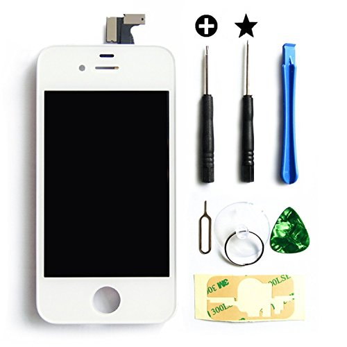 MMOBIEL LCD Ersatz kompatibel mit iPhone 4 (Weiss) Display Touchscreen Digitizer Premium Set mit Tool Kit