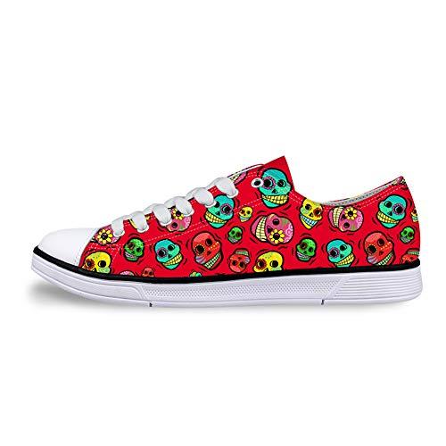 Flowerwalk - Zapatillas de Lona con Cordones para Hombre, Calaveras, Calaveras, Calaveras, cómodas, Zapatillas de Deporte, Verano, Moda, Color Rojo, Talla 43 EU