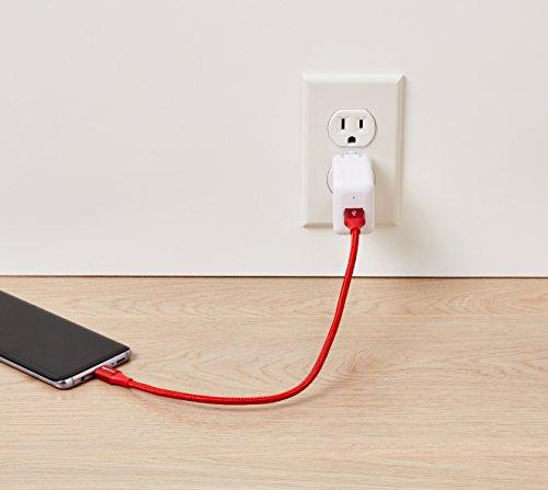 Amazon Basics - Verbindungskabel, USB Typ C auf USB Typ A, USB-3.1-Standard der 1. Generation, doppelt geflochtenes Nylon, 0,3 m, Rot