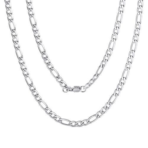 ChainsPro Figarokette Männer Edelstahl Silber 4mm Breit Herren Halskette Stahl Männer Halsketten Herren Diamantschliff Figaro 61CM Lang Kette