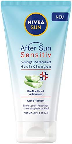 NIVEA SUN After Sun Sensitiv SOS Creme-Gel (175 ml), kühlendes After Sun Gel mit hautberuhigender Wirkung, Hautgel mit Bio-Aloe Vera und Antioxidans für sensible Haut