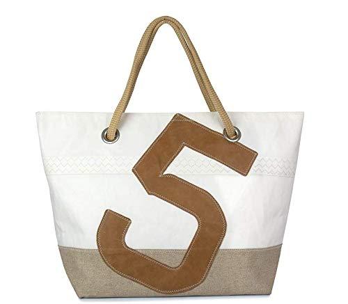 727Sailbags CARLA, linnen & leer, strandtas handtas shopper voor dames van gerecycled Dacron-zeil, linnen bodem, aantal 5 leer