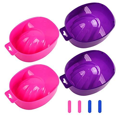 AirSMall 4PCS Set per la rimozione di unghie per ciotola per manicure, 4 lime per unghie Ciotola per immersione Strumento per rimuovere lo smalto per unghie Spa Manicure Bowl per la cura delle