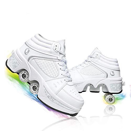 YXRPK Patines De Ruedas Deformación, Zapatos De Ruedas Ajustables para Niños, Patines De Cuatro Ruedas para Niñas, Zapatos De Viaje Unisex