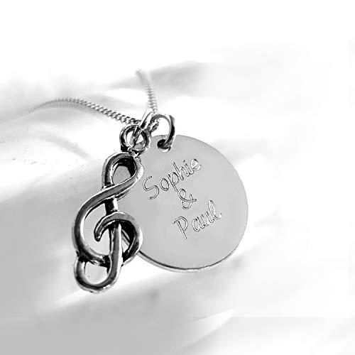 Personalisierte Halskette, Notenschlüssel Anhänger & Gravurplatte, Wunschtext, 925 Silber