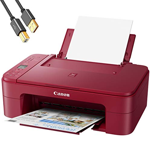 """Canon PIXMA TS Series Wireless All-In-One Color Inkjet Printer - Red - 3-in-1 Print, Scan, Copy for Home Office - Up to 4800x1200 dpi Print Resolution, 1.5"""" LCD screen, WiFi - 4 Feet USB Printer Cable"""
