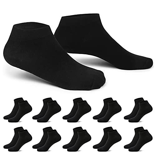 EKSHER Sneaker Socken Herren Damen 10 Paar Kurze Halbsocken Baumwolle Schwarz 39-42