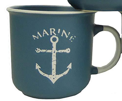 osters muschel-sammler-shop Kaffeebecher-Tasse maritim - Keramik ┼ 400ml ┼ Teebecher ┼ Strandtasse-Becher ┼ Geschenk-Artikel (Blau mit Anker)