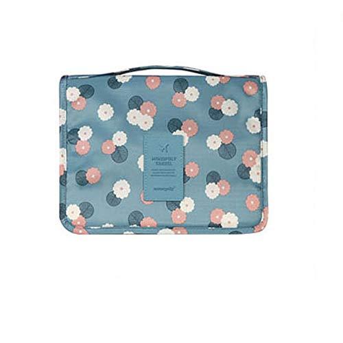 HJT® Trousse de toilette de voyage à suspendre avec crochet, sac de rangement à suspendre, sac à cosmétiques pour femmes, filles et enfants (bleu clair)