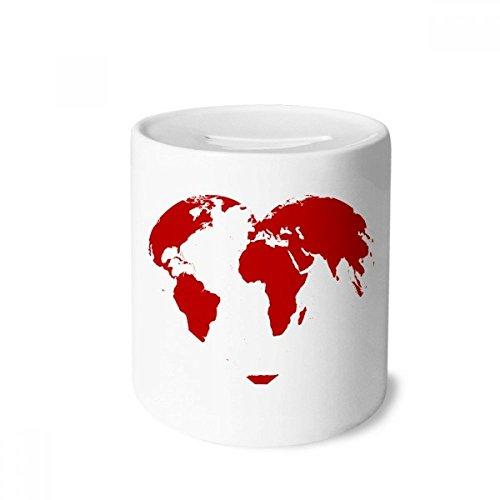 DIYthinker Caixa de moedas de cerâmica com mapa múndi vermelho coração dia dos namorados porta-moedas presente de cofrinho