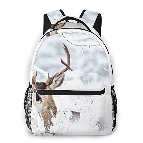 Lawenp Mochila Unisex de Moda Mochila de Ciervos y Nieve Mochila Ligera para portátil para Viajes Escolares Acampar al Aire Libre