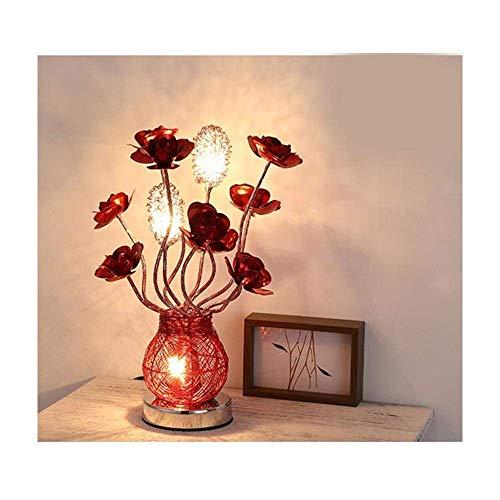FAGavin Moderno Creativo Romántico Aluminio Rosa Lámpara De Escritorio LED Luz Nocturna con Jarrón Hecho A Mano Diseño De Noche De Noche Decoración Regalo De Boda Luz De Mesa De San Valentín