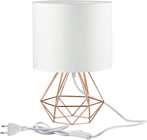 Frideko Modern Table Lamp, 20CM(9.84') Diamond Metal Wire Cage Base with Fabric Lampshade for Home Office Cafe Restaurant (White-Rose Gold)