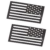 American Flag Emblem Sticker Decal, Magnetic Vinyl Car Fridge Sticks to Any Metal Surface, 1mm Cut-Out Car Military Patriotic Emblem, Truck SUV Accessories, 5'x3'(Matte Black 2pcs)