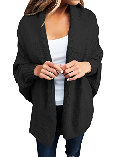Women's Casual Long Dolman Sleeve Draped Open Front Cozy Loose Knit Cardigan Sweaters Oversized Outwear Coat Black L 12 14