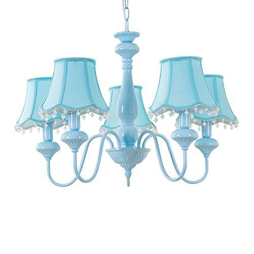 Plafondlamp voor kinderen 5 kroonluchter design stof lampenkap blauw voor baby room girl boy E14 x 5 diameter 65 cm x 45 cm (A ++)