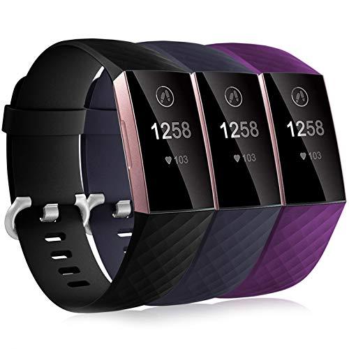 Dirrelo 3 Pack Armbänder Kompatibel mit Fitbit Charge 3/Fitbit Charge 4/Charge 3 SE Armband für Damen und Herren, Sport Verstellbares Ersatzarmband Silikon Uhrenarmband, Schwarz+Blau+Pflaume S