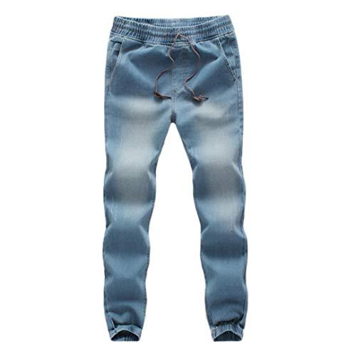 KPILP Männer Casual Kordelzug Denim Große Größe Baumwolle Herbst Winter Elastische Kordelzug Arbeit Arbeitshose Jeans Hosen(Hellblau, L)