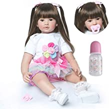 Zero Pam Reborn Baby Dolls Girls 24 inch Real Life Silicone Vinyl Bebe Reborn Toddler Dolls Realistic with Pacifier Newborn Baby Gifts Toys for Kids