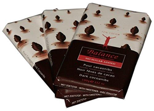 Balance Schokolade - Dunkle Schokolade ohne Zuckerzusatz - 3 x 100 g