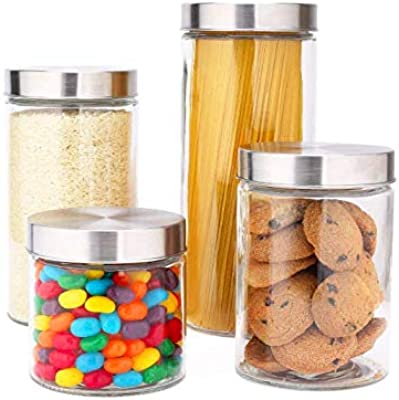 HOMIES INTERNATIONAL set of 4 Round Glass Jar Container with Steel Lid for Home, Kitchen and Commercial Use. Material: Glass and Stainless Steel lid- Size: 27* 11cm, 22* 11cm, 11.5* 11cm, 15* 11cm