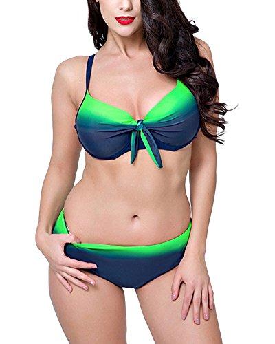 PengGengA Mujer Bikini Bañadores Push Up Tallas Grandes Traje De Baño con Aros Verde 56
