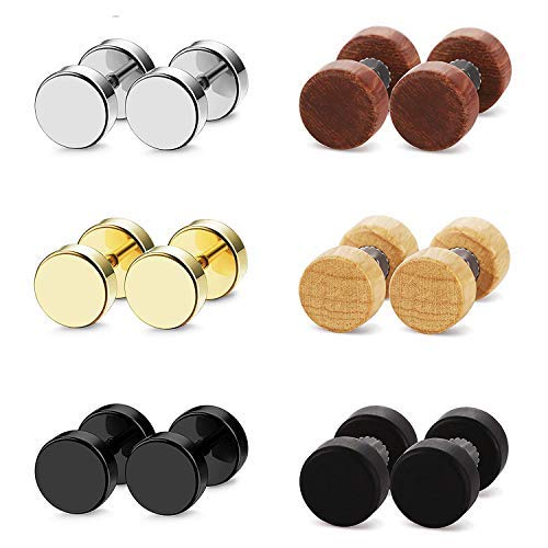 Aroncent 6 Paar Ohrstecker Tunnel Set 8mm Edelstahl Holz Runde Fake Plugs Ohrringe Cheater Illusion Ohr Piercing, Gold Schwarz Silber Braun