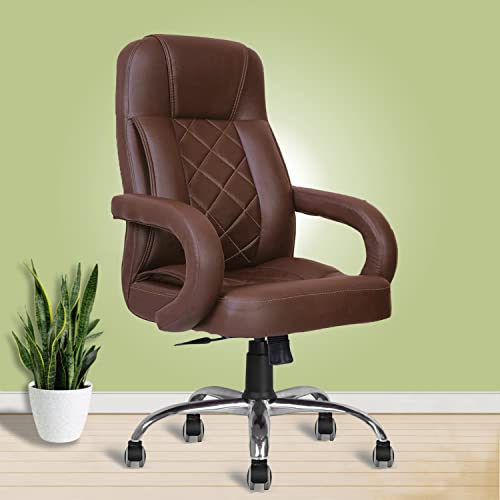 beAAtho JS-2 Teak and Synthetic Leatherette Executive High Back Office Revolving Chair (Brown)