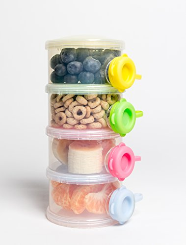 OceanBaby 4 Twist Lock Stackable Container Non Spill Baby Formula Dispenser - 1 Pack Colors may vary