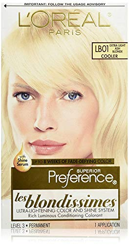 L'Oreal Paris Superior Preference Fade-Defying + Shine Permanent Hair Color, LB01 Extra Light Ash Blonde, Pack of 1, Hair Dye