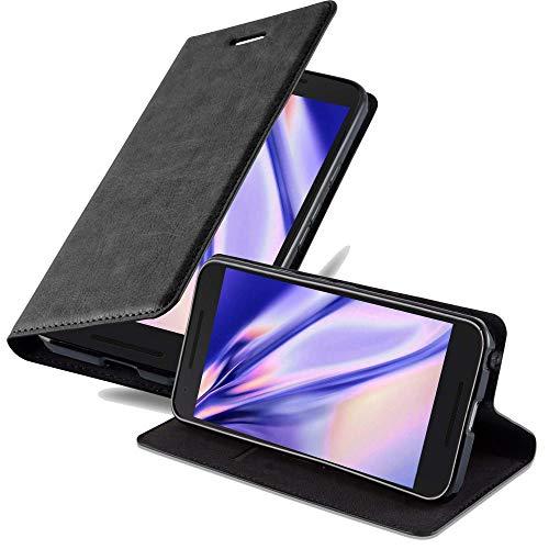 Cadorabo Hülle für LG Nexus 5X - Hülle in Nacht SCHWARZ – Handyhülle mit Magnetverschluss, Standfunktion & Kartenfach - Hülle Cover Schutzhülle Etui Tasche Book Klapp Style