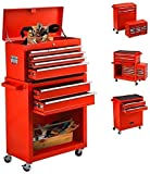 8 Drawers High Capacity Tool Chest,Tool Box with Drawers and Wheels Tool Cabinet Tools Storage Portable Top Toolbox,Rolling Tool box with Handle,Tool Boxes for Mechanics Garage Workshop (8-Drawer Red)