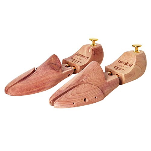 Lumaland hochwertiger Schuhspanner für Damen und Herren aus Zedernholz mit Doppelfederung Unisex Größe 44/45