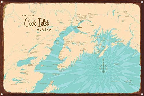 Cook Inlet Alaska Map Rustic Metal Art Print by Lakebound 12' x 18'