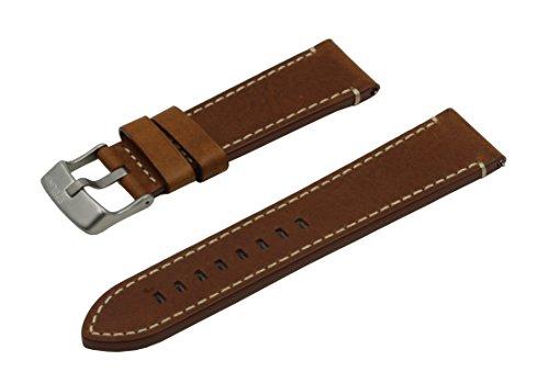 SWISS REIMAGINED hypoallergenes Uhrenarmband Kalbsleder Titan-Schließe - 24mm Cognac