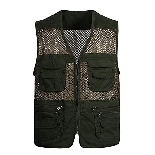 Chaleco de malla de secado rápido para hombre, chaleco transpirable de múltiples bolsillos
