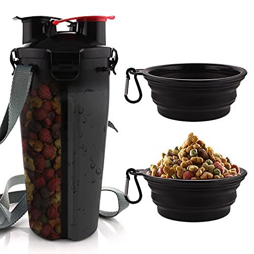 MATT SAGA Hund Trinkflasche und Futterflasche 2-in-1 mit 2 Faltbar Hunde Reisenapf Tragbare Hundewasserschüsseln zum Gehen, Wandern & Reisen (schwarz)