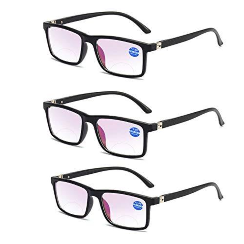 Bifocale leesbril Lichtgewicht Anti-blauw licht ver dichtbij vergroting verziend bril vierkant full frame dioptrie mannen vrouwen zwart (3 stuks),Near and far,+1.5