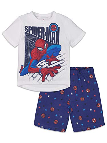 Marvel Spiderman Little Boys T-Shirt and French Terry Shorts Set White 5