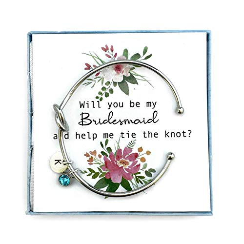 Bridesmaid Proposal, Will you be my Bridesmaid, Tie the Knot Bracelet, Personalised Initial Bridesmaid Gift, Love knot Bracelet, Knot Bangle Cuff, Card 1