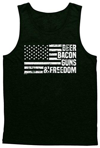 Blittzen Mens Tank Beer Bacon Guns & Freedom, L, Black