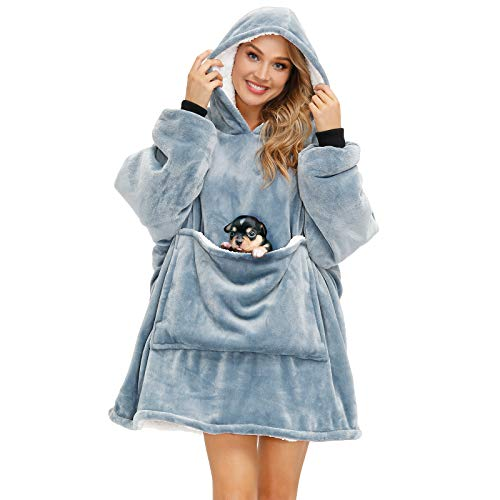 Aemilas Wearable Blanket Oversized Blanket Hoodie Wearable Sweatshirt Sherpa Comfy Blanket with Deep...