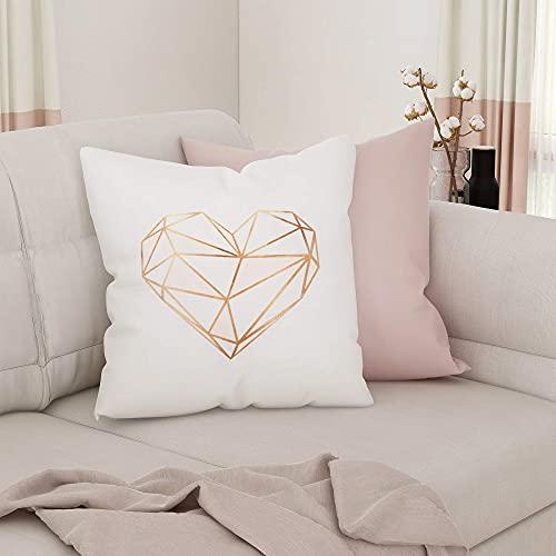 SUMGAR Federe per cuscini rosa a forma di cuore, in poliestere, bianco, oro, moderne, da donna, per il soggiorno, per il letto, per l'auto, 45 x 45 cm, 2 pezzi