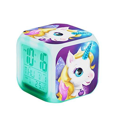Qaxlry Unicorn Alarm Clocks,7-in-1 Night Light Kids Alarm Clocks with LED Glowing Bedroom Wake Up Alarm Clock Gifts for Unicorn Room Decor for Girls Bedroom (Gold)