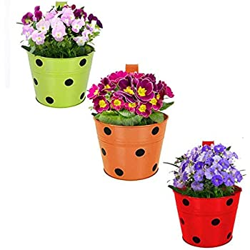 Kraft Seeds Designer Round Shaped Dotted Railing Planters. (Round -Multicolored Variety Available - Green, Yellow, Orange, Blue and Red.) Useful for Balcony and Home Gardening (Pack of 3)